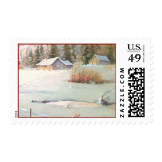 WINTER FARM & POND by SHARON SHARPE Stamp