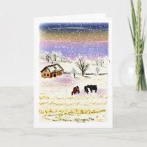 Winter Farm Scene Custom Christmas Greeting Card