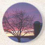 Winter Farm Sunset Coaster