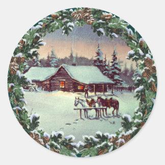WINTER FARM & WREATH by SHARON SHARPE Classic Round Sticker