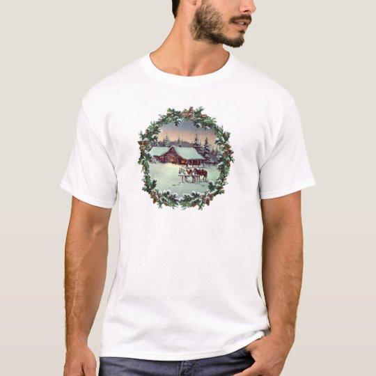 WINTER FARM & WREATH by SHARON SHARPE T-Shirt