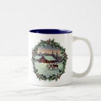 WINTER FARM & WREATH by SHARON SHARPE Two-Tone Coffee Mug