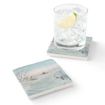 Winter Farmhouse Painting by Sherry Shedenhelm Stone Coaster