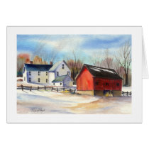 Winter Farmhouse & Red Barn Card