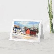 Winter Farmhouse & Red Barn Holiday Card