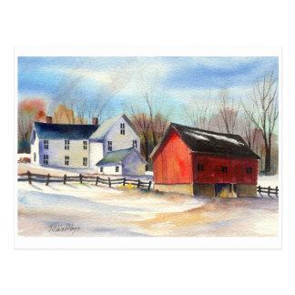 Winter Farmhouse & Red Barn Postcard