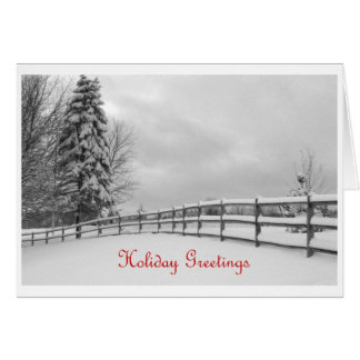 Winter Fence 2 Holiday Greetings Card