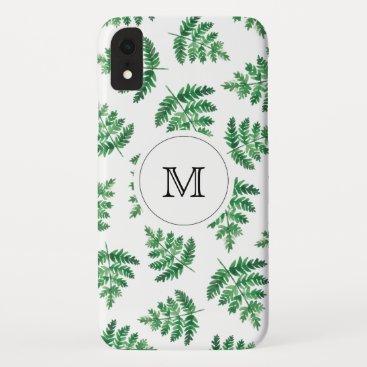 Winter Fern with monogram iPhone XR Case