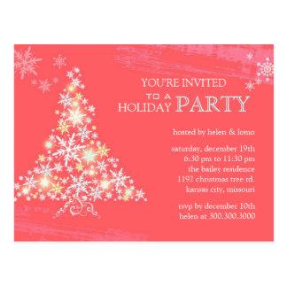 Winter Festivity Pink Holiday Party Invitation Postcard