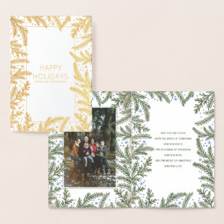 Winter Fir Branches Christmas | Holiday Photo Foil Card