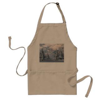 Winter fir trees landscape adult apron
