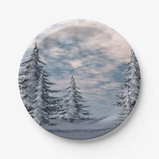 Winter fir trees landscape paper plate