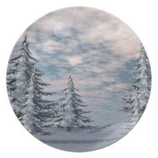 Winter fir trees landscape plate