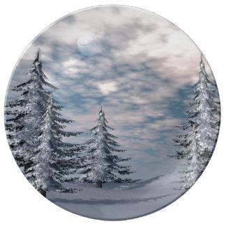 Winter fir trees landscape porcelain plate