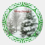 Winter Fir Trees, Merry Christmas Classic Round Sticker
