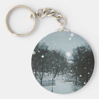 Winter Flakes Basic Round Button Keychain