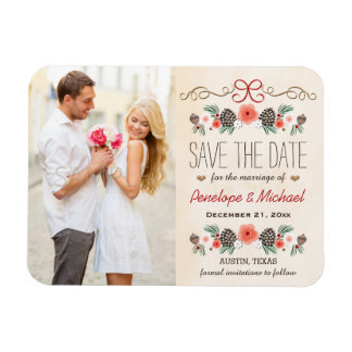 Winter Floral Christmas Wedding Save the Date Magnet
