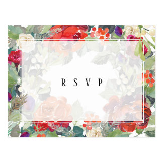 winter floral greenery wedding rsvp postcard