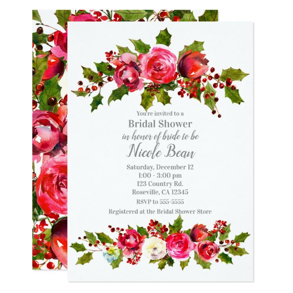 Winter Floral Holly Berry Holiday Bridal Shower Invitation