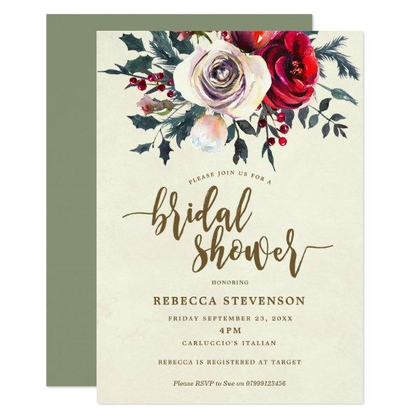winter floral modern bridal shower invitation