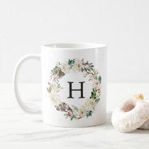 Winter Floral   Monogram Holiday Coffee Mug