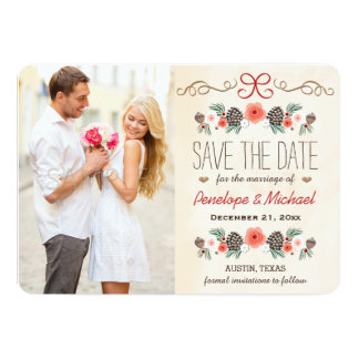 Winter Floral Pine Cone Christmas Save the Date 5x7 Paper Invitation Card