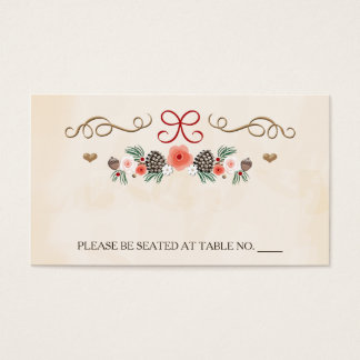 Winter Floral Pine Cone Wedding Seating Place Business Card