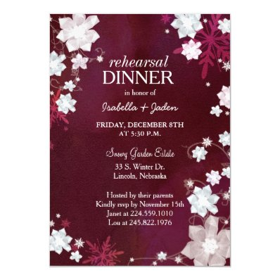 Winter Floral Wedding Rehearsal Dinner Invitation
