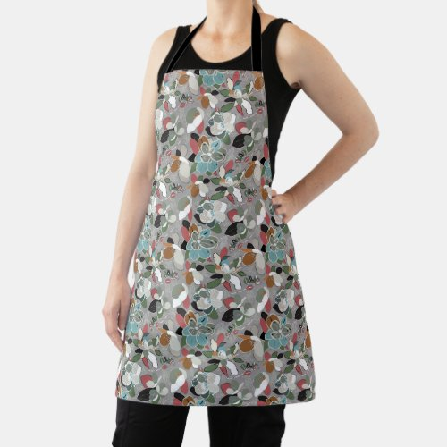 Winter Florals Gray Black Apron