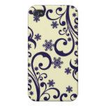 Winter flower snowflakes tendril pattern iPhone 4 case