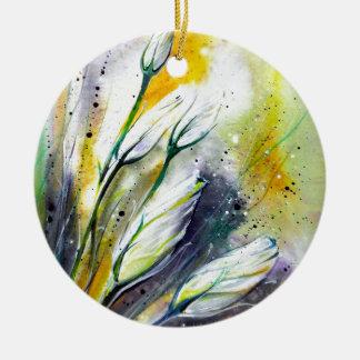 Winter Flowers Ceramic Ornament