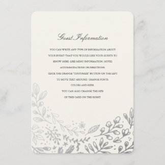 Winter Flowers Directions/Information Card