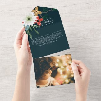 Winter Flowers Joyeux Noël Elegant Christmas Card