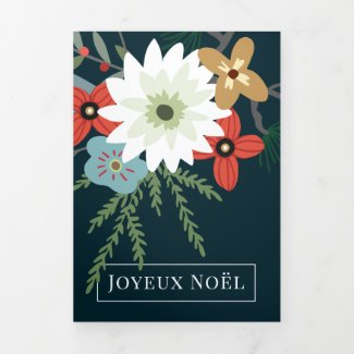 Winter Flowers Joyeux Noël Elegant Christmas Tri-Fold Holiday Card
