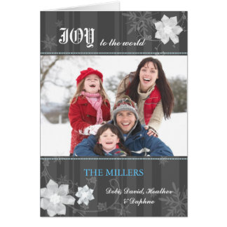 WInter Flowers n Stripes Modern Holiday Photo Card