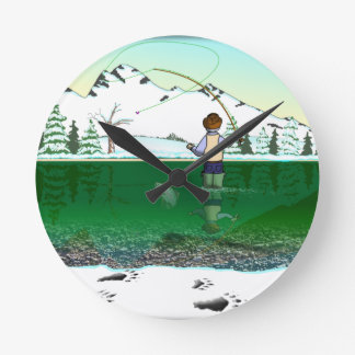 WINTER FLYFISHING WITH BEAR TRACKS ROUND WALLCLOCKS