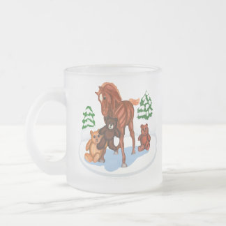 Winter Foal and Teddy Bears Frosted Mug