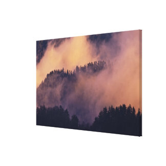 Winter fog in valley at sunset from Morton Canvas Print