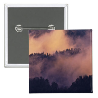 Winter fog in valley at sunset from Morton Pinback Button