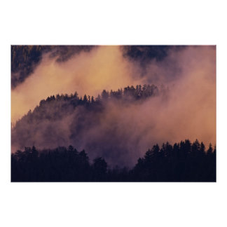Winter fog in valley at sunset from Morton Poster