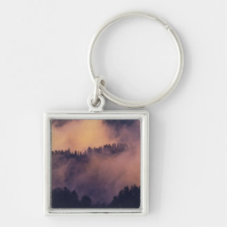 Winter fog in valley at sunset from Morton Silver-Colored Square Keychain