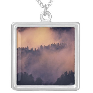 Winter fog in valley at sunset from Morton Silver Plated Necklace