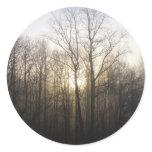 Winter Fog Morning Sunrise Nature Photography Classic Round Sticker