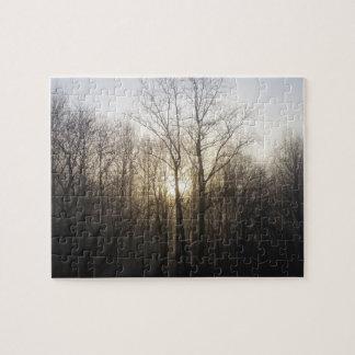 Winter Fog Morning Sunrise Nature Photography Jigsaw Puzzle