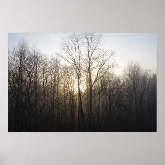 Winter Fog Morning Sunrise Nature Photography Poster