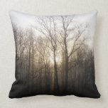 Winter Fog Morning Sunrise Nature Photography Throw Pillows