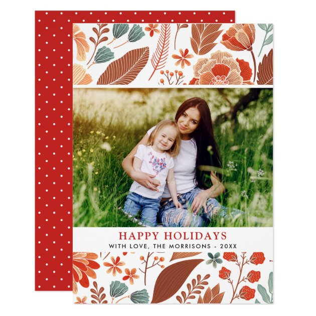 Winter Foliage Floral Happy Holidays Family Photo Card