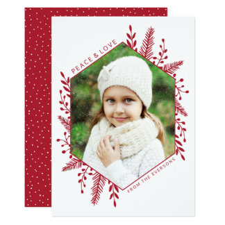 Winter Foliage | Holiday Photo Card | Red