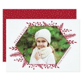 Winter Foliage Horizontal Photo Card | Red