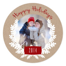 Winter Foliage Kraft Paper | Holiday Photo Card Custom Invitations